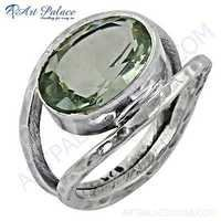 Sensational Green Amethyst Gemstone Sterling Silver Ring