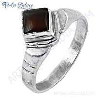 Indian Touch Garnet Gemstone Silver Ring