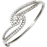 Cluster Flower White Gold Half Bangle