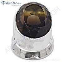 Hot Dazzling Gemstone Silver Ring With Smokey Quartz