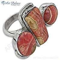 Latest Fashion Rhodochrosite Gemstone Silver Ring