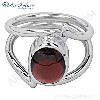 New Stylish Garnet Gemstone Silver Ring