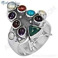 Traditional Multi Stone Sterling Silver Ring