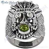 Lion Style Peridot Gemstone Silver Ring