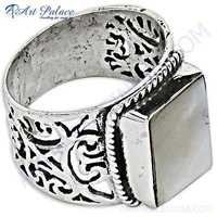 Fret Work Designer Pearl Silver Ring