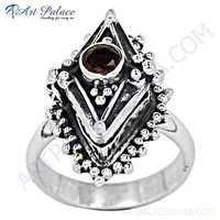 Indain Designer Garnet Gemstone Silver Ring