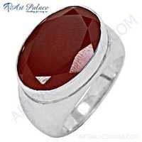 Deep Dark Red Onyx Gemstone Silver Ring