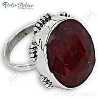 Lovely Ruby Gemstone Silver Ring