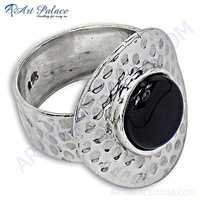 Indian Touch Black Onyx Gemstone Silver Ring