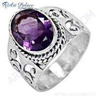 Charming Amethyst Gemstone Fret Work Silver Ring