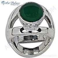 Celeb Style Green Onyx Gemstone Sterling Silver Ring