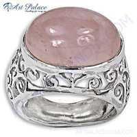 Feminine Unique Designer Rose Quartz Silver Ring