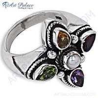 Party Wear Designer Multi Stone Silver Ring
