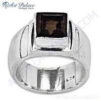 Inspired  Smokey Quartz Gemstone Silver Ring