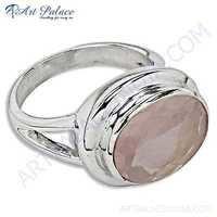 Delicate Rose Quartz Gemstone Silver Ring