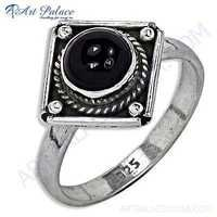 Traditional Designer Black Onyx Gemstone Silver Ring