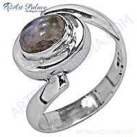 Unique Style Rainbow Gemstone Silver Ring