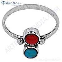 Costume Jewelry, Coral & Turquoise Gemstone Silver Ring