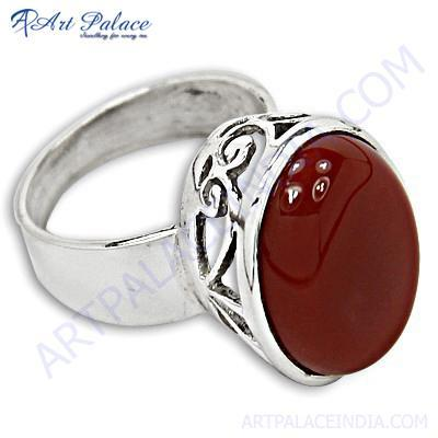 Hot Dazzling Gemstone Silver Ring With Red Onyx