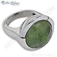 Delicate Prenite Gemstone Silver Ring