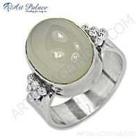 Delicate Chalce Gemstone Silver Ring