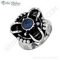Traditional Designer Blue Chalcedony Gemstone Silver Ring