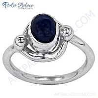 Trendy Lapis Gemstone Silver Ring
