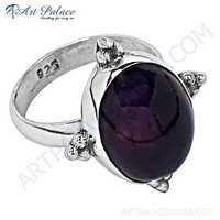 Indain Designer Amethyst Gemstone Silver Ring