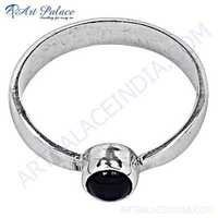 Delicate Black Onyx Gemstone Silver Ring
