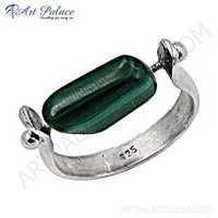 Unique Style Malachite Gemstone Silver Ring