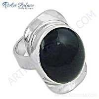 Nightlife Black Onyx Gemstone Silver Ring
