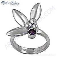 Antique Style Amethyst Gemstone Silver Ring