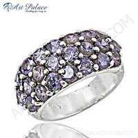 Classic Blue Cubic Zirconia Gemstone SIlver Rings