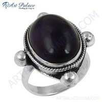 Victorian Designer Gemstone Silver Ring With Amethyst