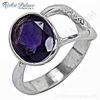 Stylish Amethyst Gemstone Silver Ring