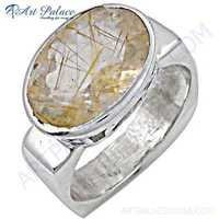 Celeb Style Golden Rutil Gemstone Sterling Silver Ring