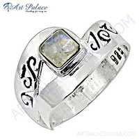 Trendy Rainbow Moonstone Gemstone Silver Ring