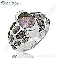 Fantastic Fashionable Amethyst Gemstone Silver Ring