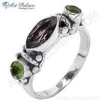 Ladies Designer Prenite & Smokey Quartz Gemstone Silver Ring