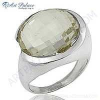 Celeb Style Crystal Gemstone Sterling Silver Ring
