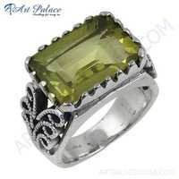 Lemon Quartz Gemstone Silver Ring