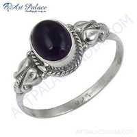 Indian Designer Amethyst Gemstone Silver Ring