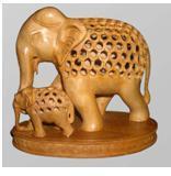 ELEPHANT UNDERCUT WITH BABY ON BASE