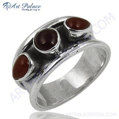 Indian Touch Red Onyx Gemstone Silver Ring