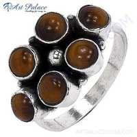 Excellent Tiger Eye Gemstone Silver Ring