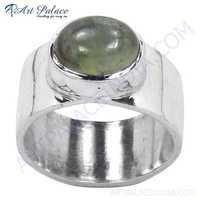 Valuable Prenite Gemstone Sterling Silver Ring
