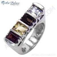Charming Multi Stone 925 Sterling Silver Ring