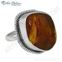 Rady to Wear Amber Gemstone Silver Ring