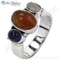 Indian Touch Amethyst, Citrine & Opal Gemstone Silver Ring