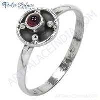 Celeb Style Garnet Gemstone Sterling Silver Ring